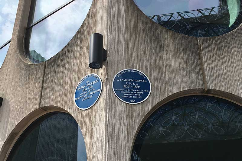Building two blue plaques