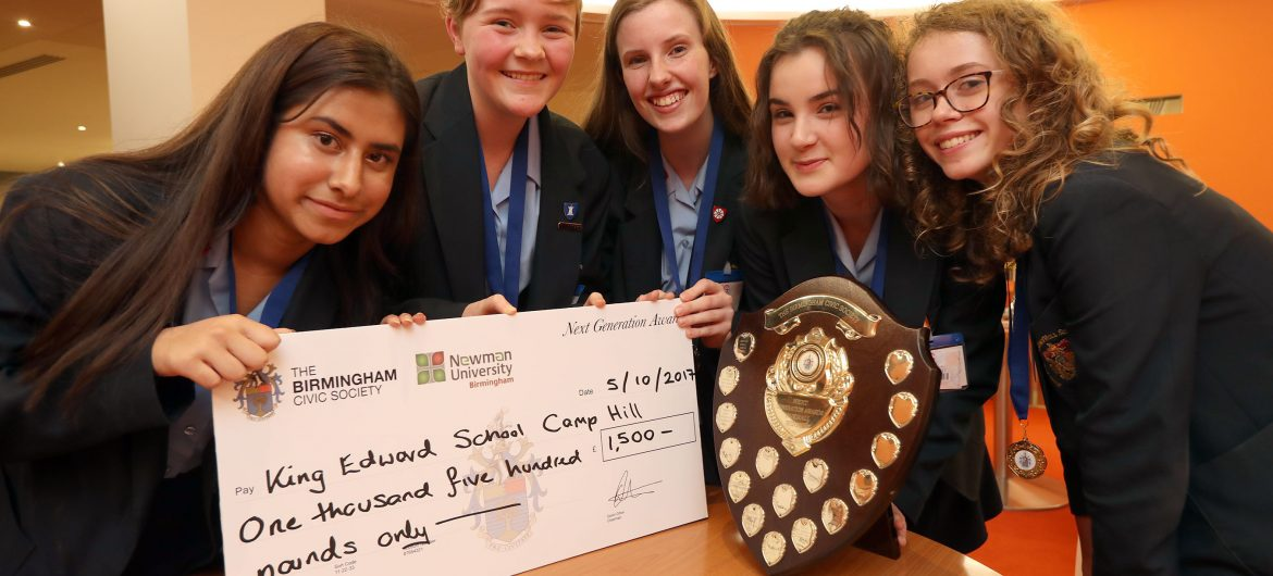 Students from King Edward VI Camp Hill School for Girls awarded £1500 for Next Generation Awards 2017