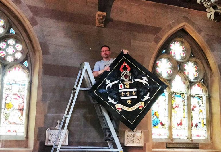 Sir Gilbert Barling's hatchment erected in St Augustine's