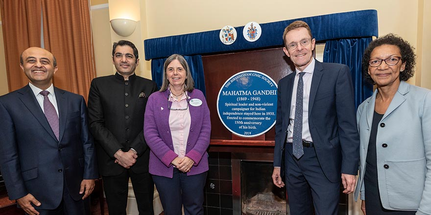 Blue Plaque to mark the 150th anniversary of Mahatma Gandhi's birth unveiled