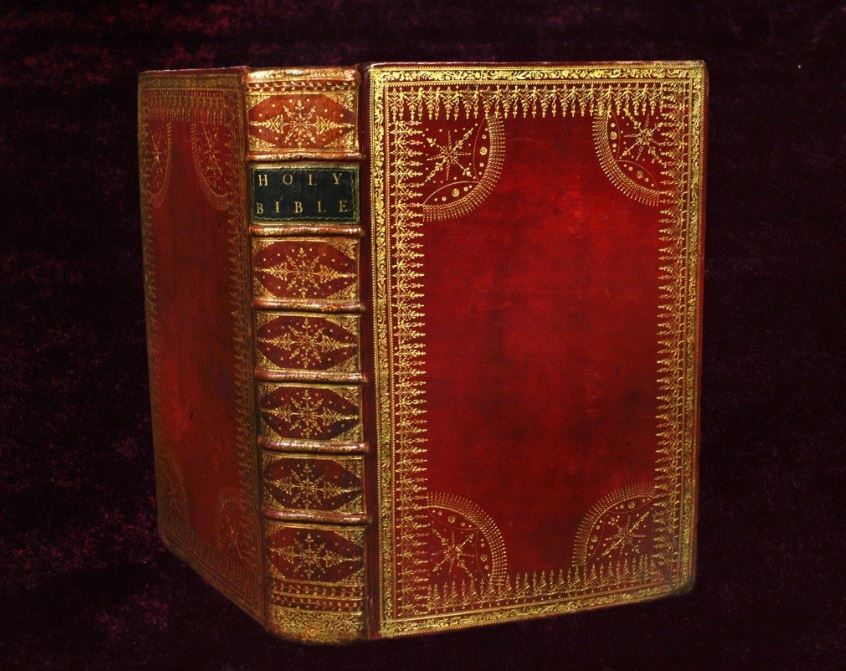 18th-century book bound in red and gold