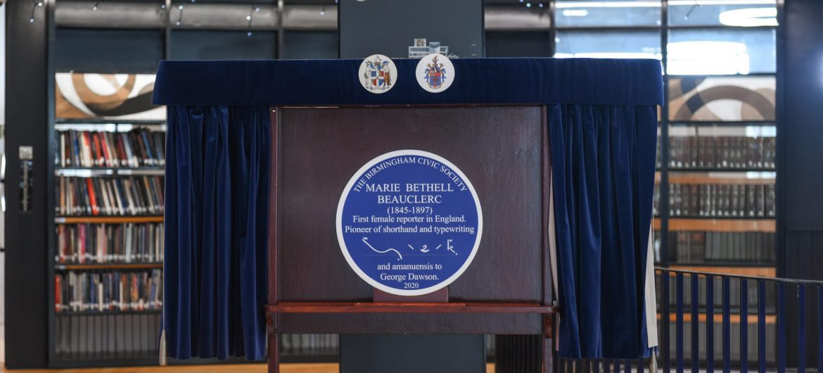 A blue plaque for England's first female reporter, Marie Bethell Beauclerc (1845-1897)